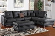 Calantha Black Leather Sectional Sofa