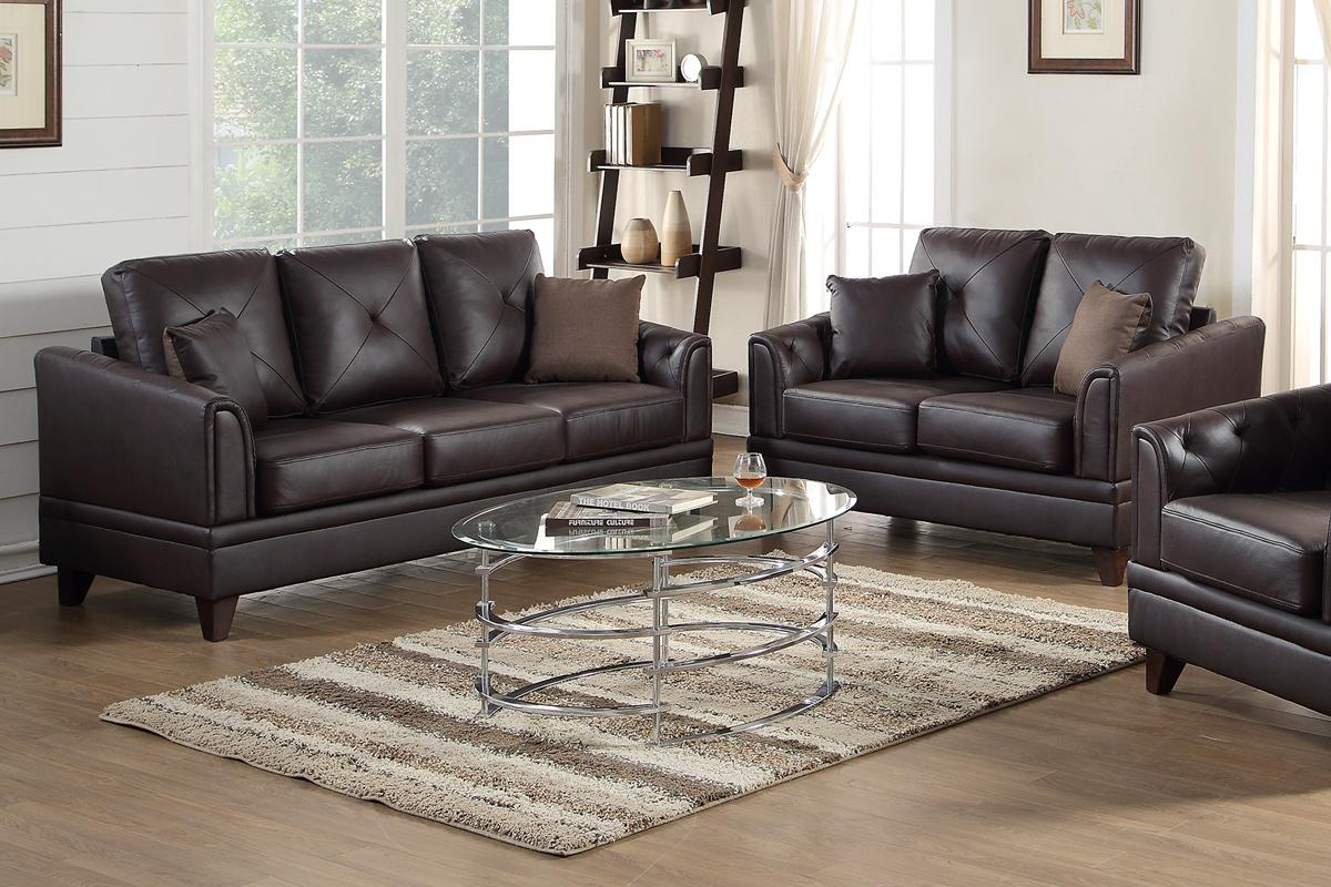 poundex calantha f6870 brown leather sofa and loveseat set s
