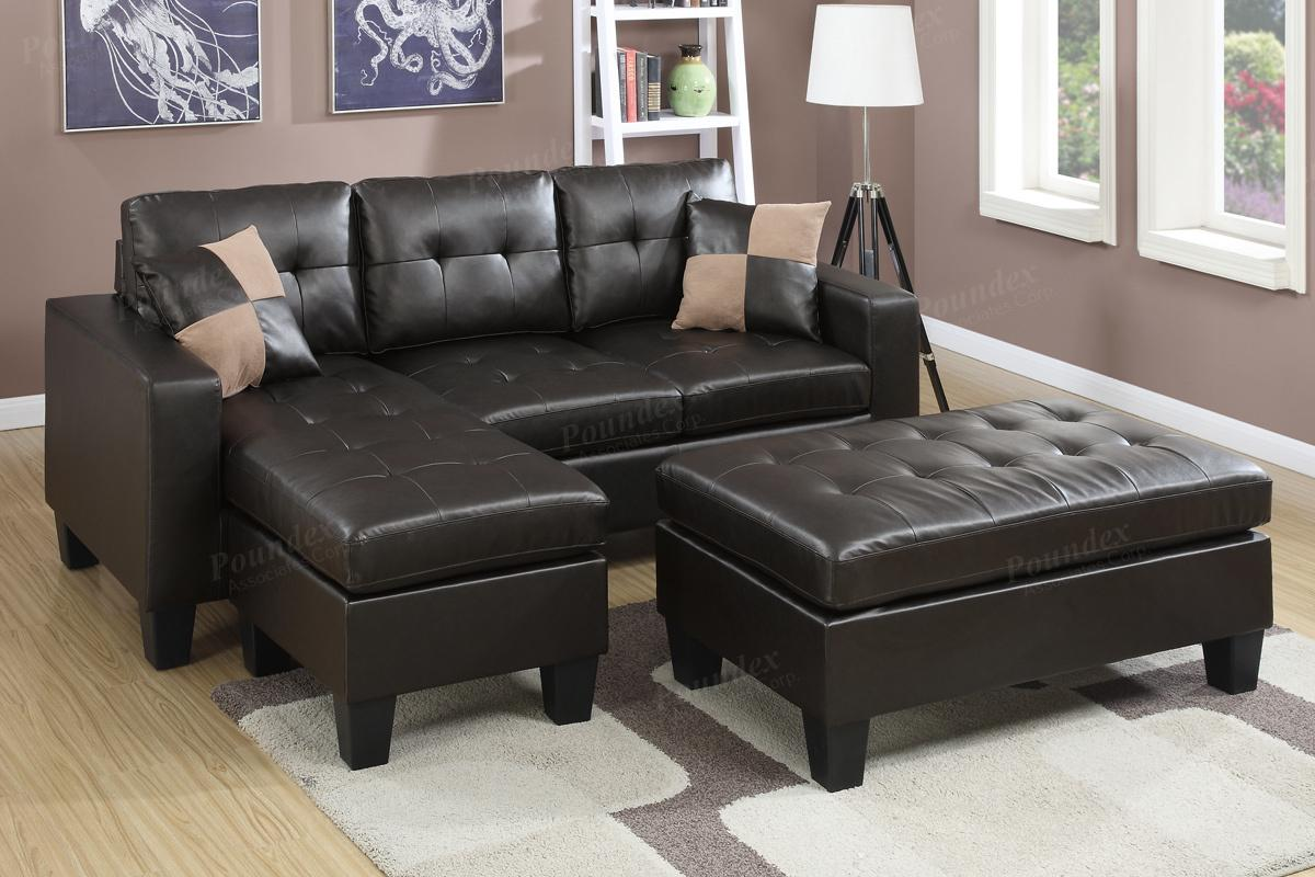 Poundex Cantor F6927 Brown Leather Sectional Sofa And