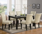 Carter Cappuccino Wood And Marble Dining Table Set