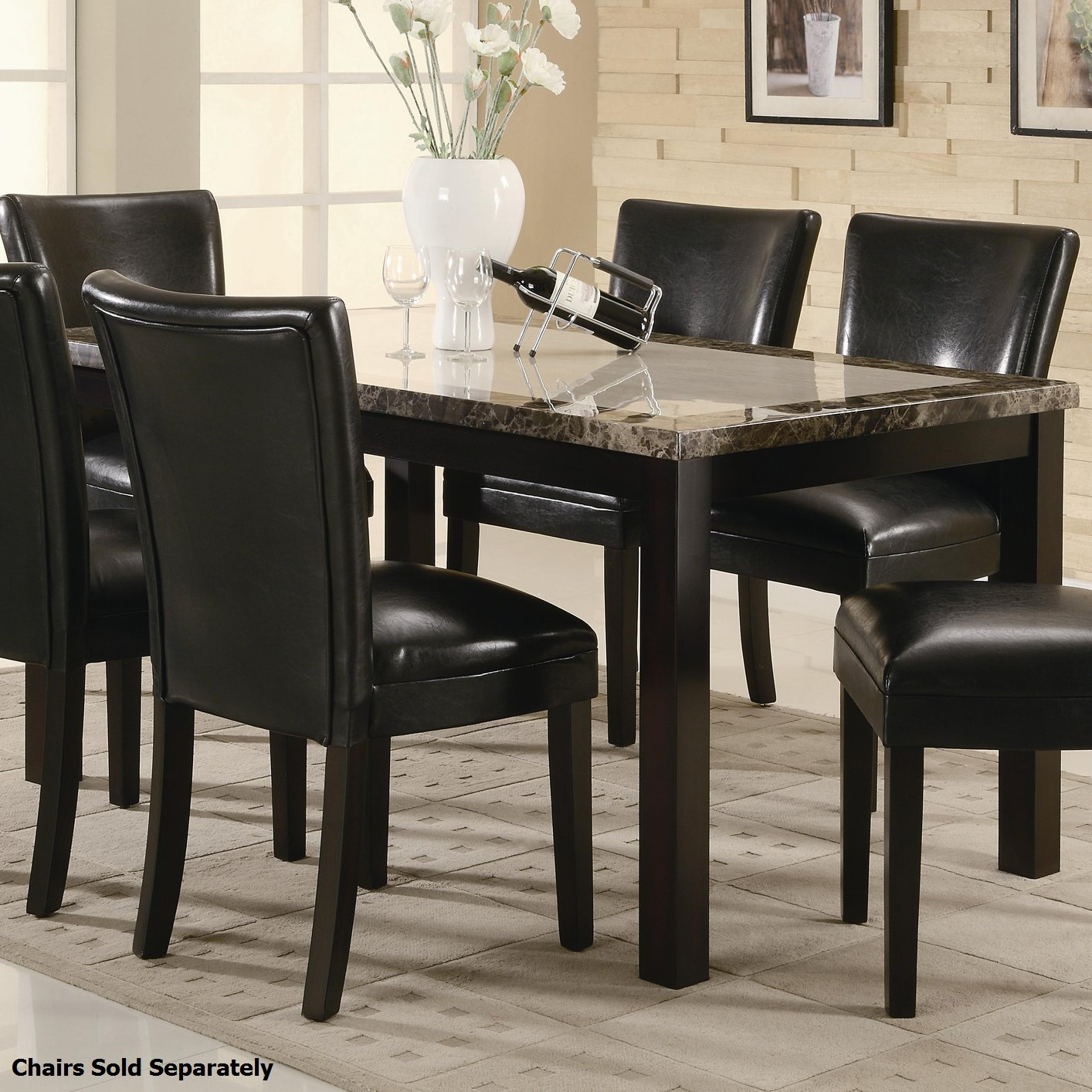 Coaster 102260 Brown Marble Dining Table And Chair Set