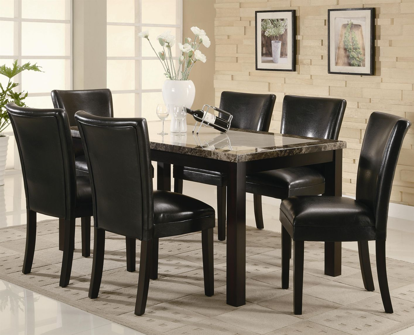 Marble Dining Room Table sets in black