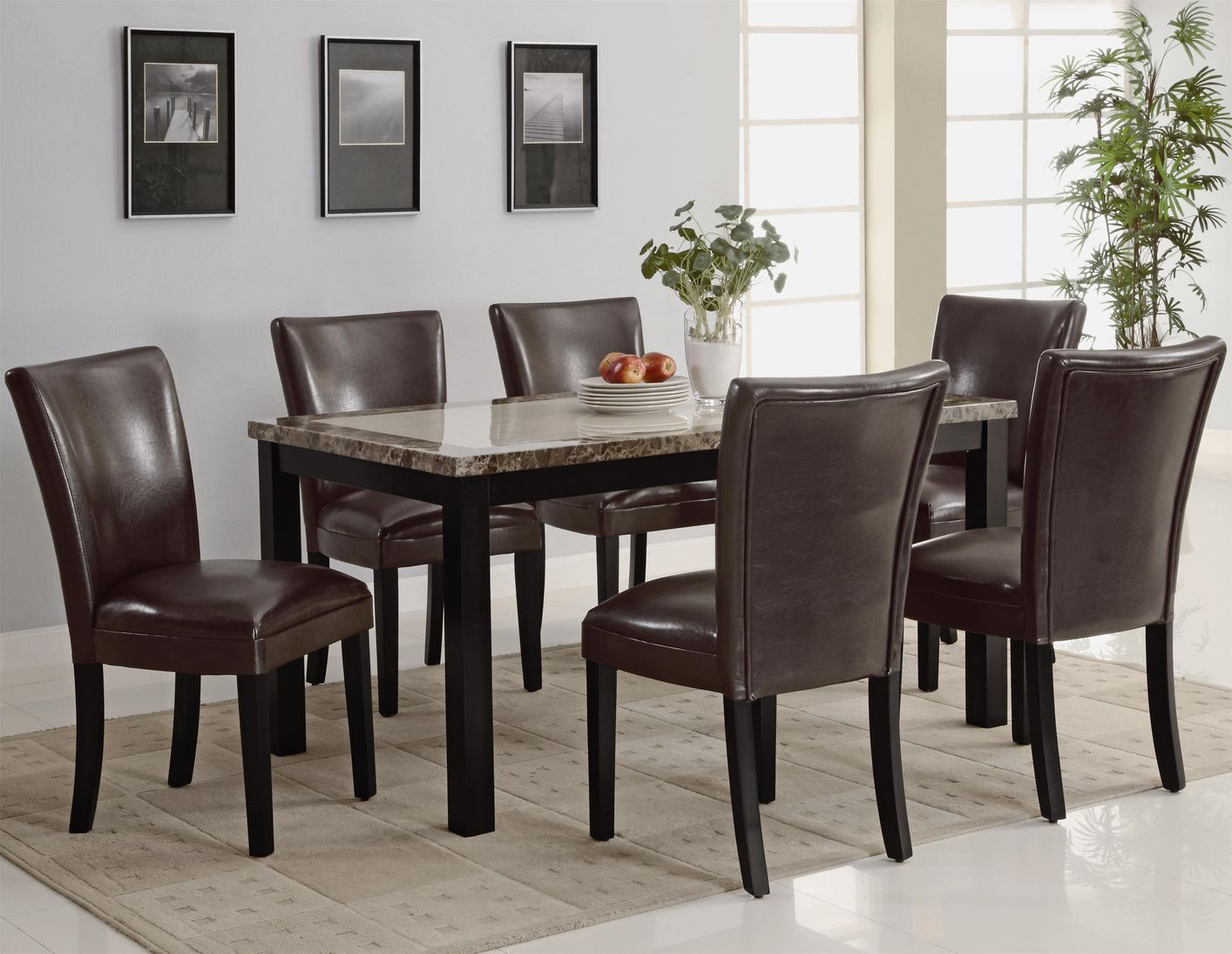 Coaster Carter 102260 102263 Brown Wood And Marble Dining . Coaster Dining  Table