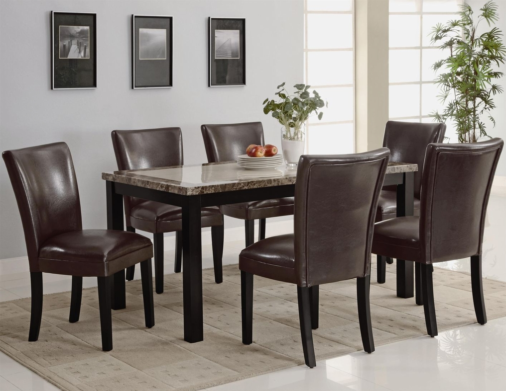 carter dark brown wood and marble dining table set