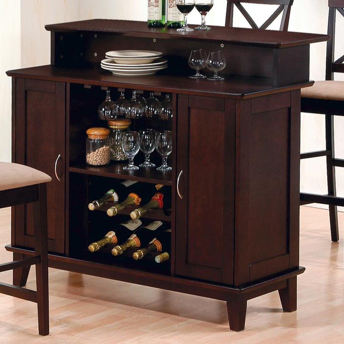 Wood Home Bar: Coaster 100218 Brown Wood Bar Unit