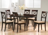 Charlotte Cross Dark Cappuccino Wood Dining Table Set