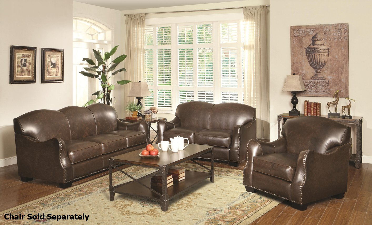Coaster Chesapeake 501781 501782 Brown Leather Sofa and ...