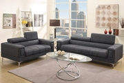 Chester Black Fabric Sofa and Loveseat Set