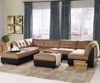Claude Latte Fabric Sectional Sofa (Two Ottomans Sold Seperately)