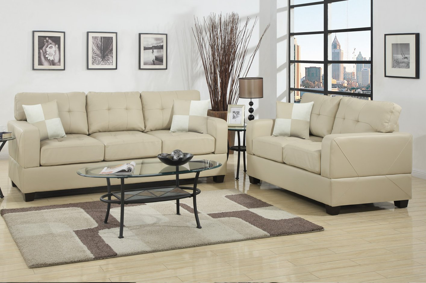 Poundex Chase F7342 Beige Leather Sofa And Loveseat Set