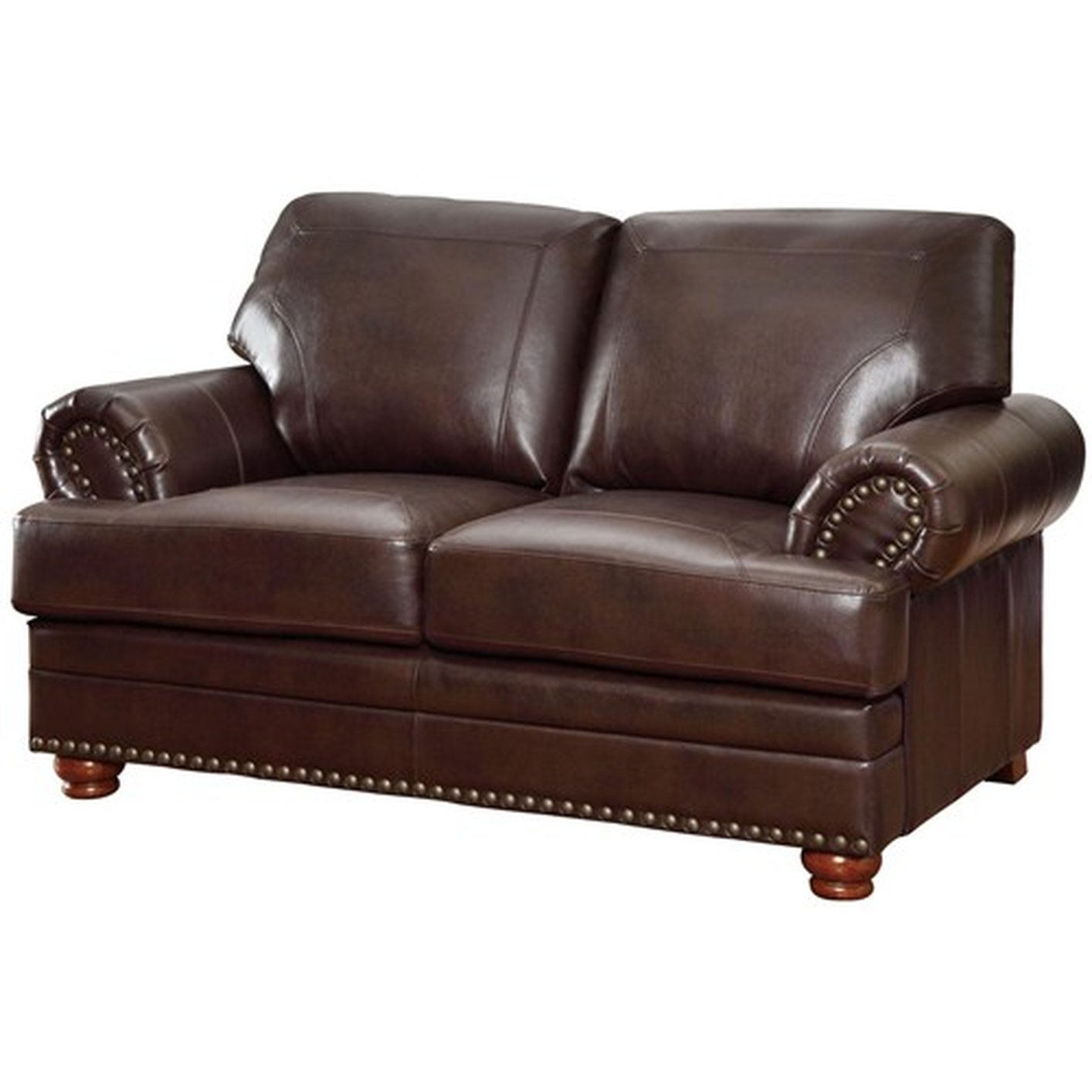 Coaster Colton 504412 Brown Leather Loveseat