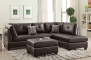 Courtney Brown Leather Sectional Sofa and Ottoman