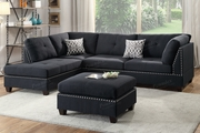 Courtney Grey Fabric Sectional Sofa and Ottoman