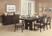 Dabny Cappuccino Wood Dining Table Set