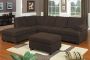 Gustav Chocolate Fabric Sectional Sofa