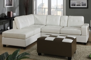 Dante Cream Bonded Leather Sectional Sofa