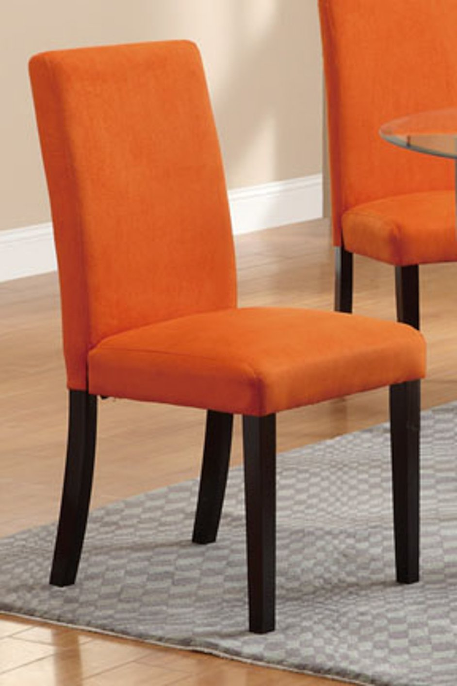 Poundex F1303 Orange Fabric Dining Chair Steal A Sofa