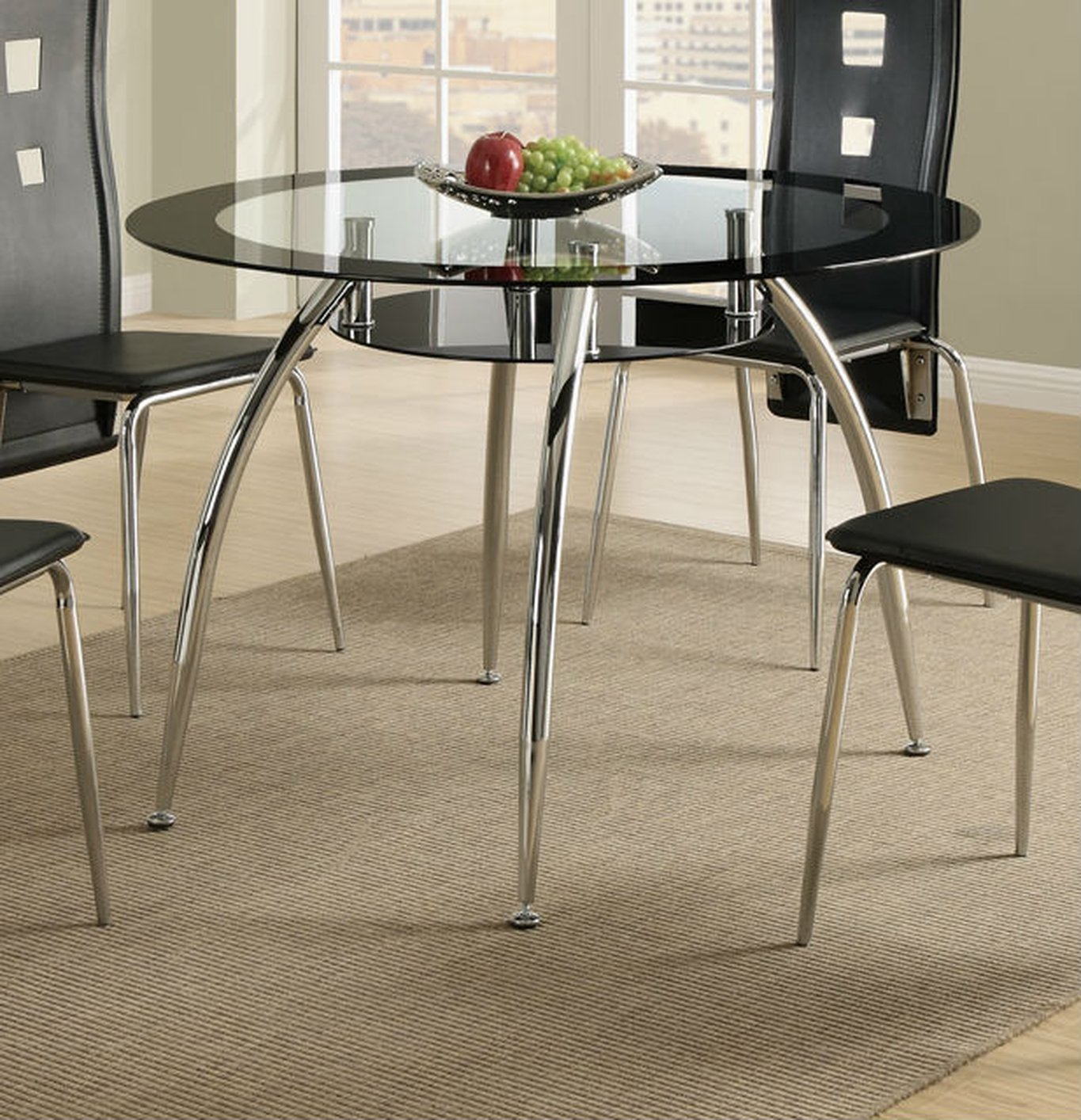 Poundex F2211 Black Glass Dining Table Steal A Sofa
