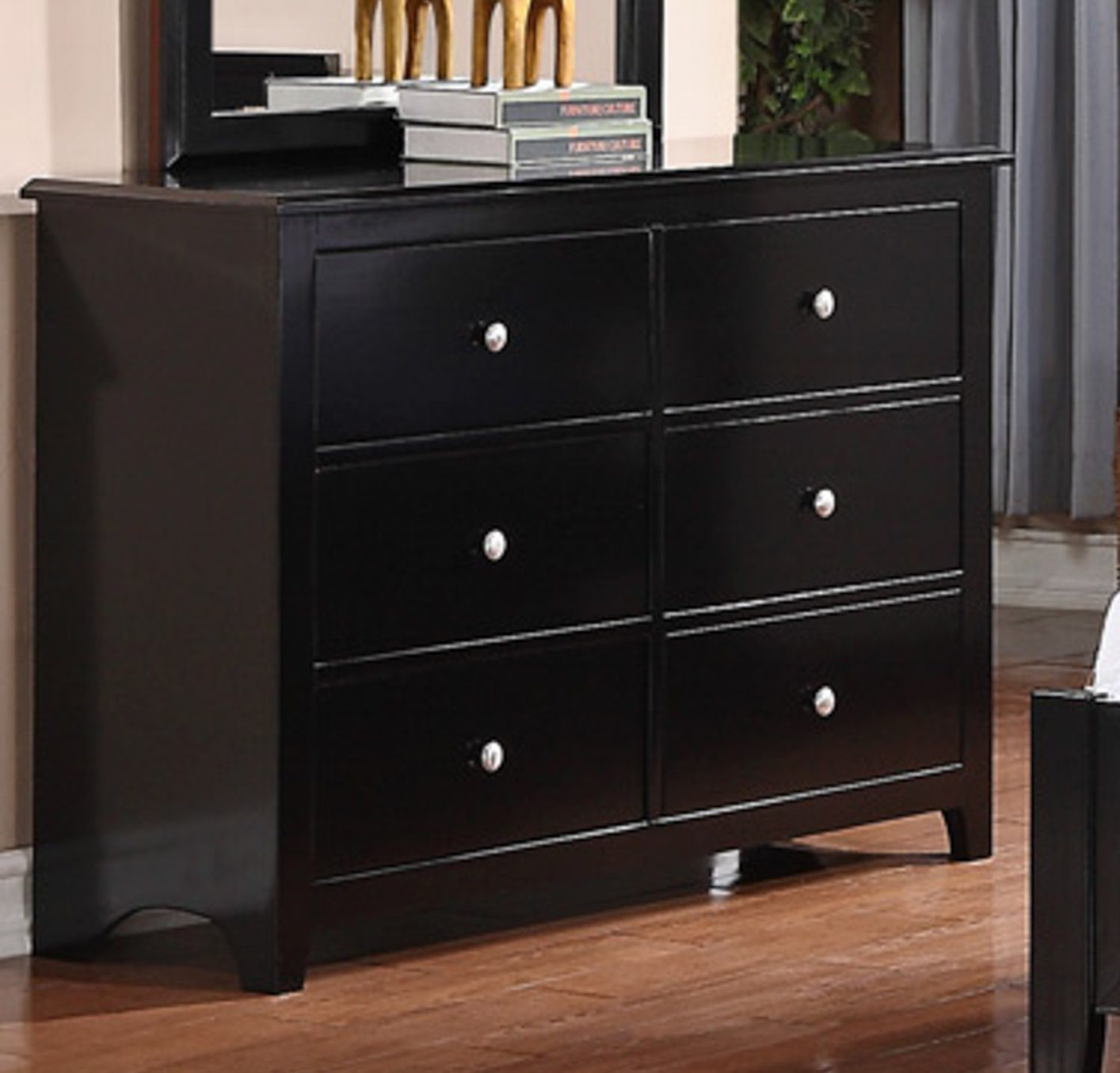 Poundex F4253 Black Wood Dresser Steal A Sofa Furniture