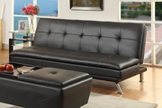 Duvis Black Leather Sofa Bed