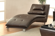 Duvis Brown Leather Chaise Lounge