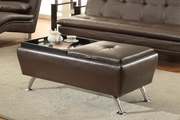 Duvis Brown Leather Ottoman