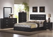 Dylan Black Wood Queen Bed Set