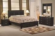 Ebony Queen Bed, Dresser, Mirror and One Nightstand
