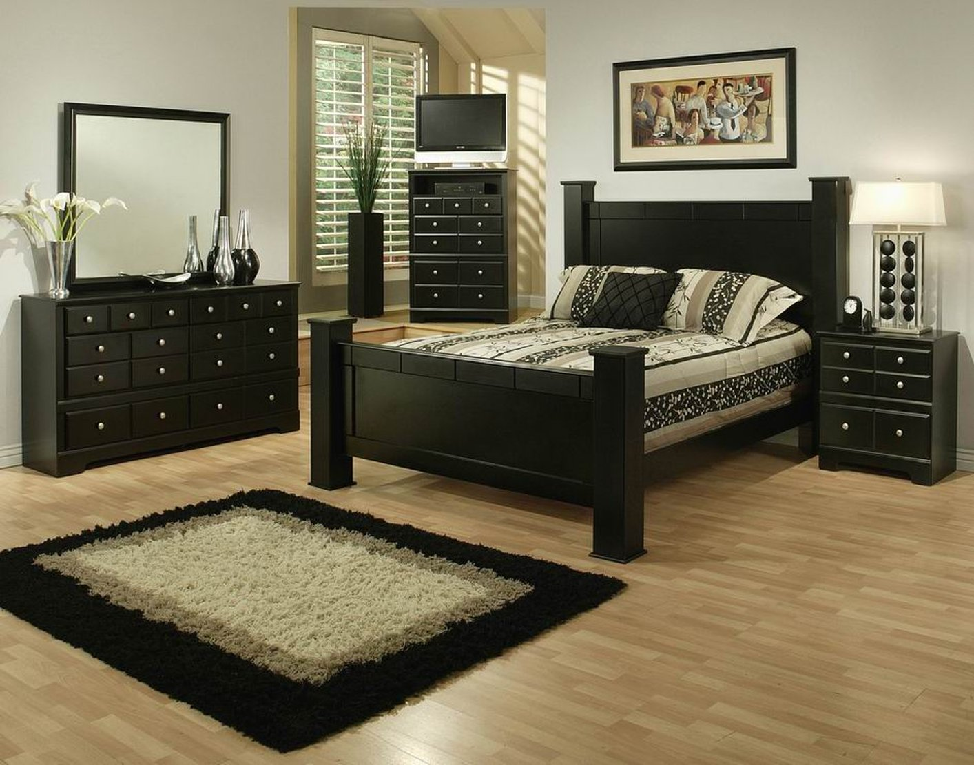 elena black wood california king size bed
