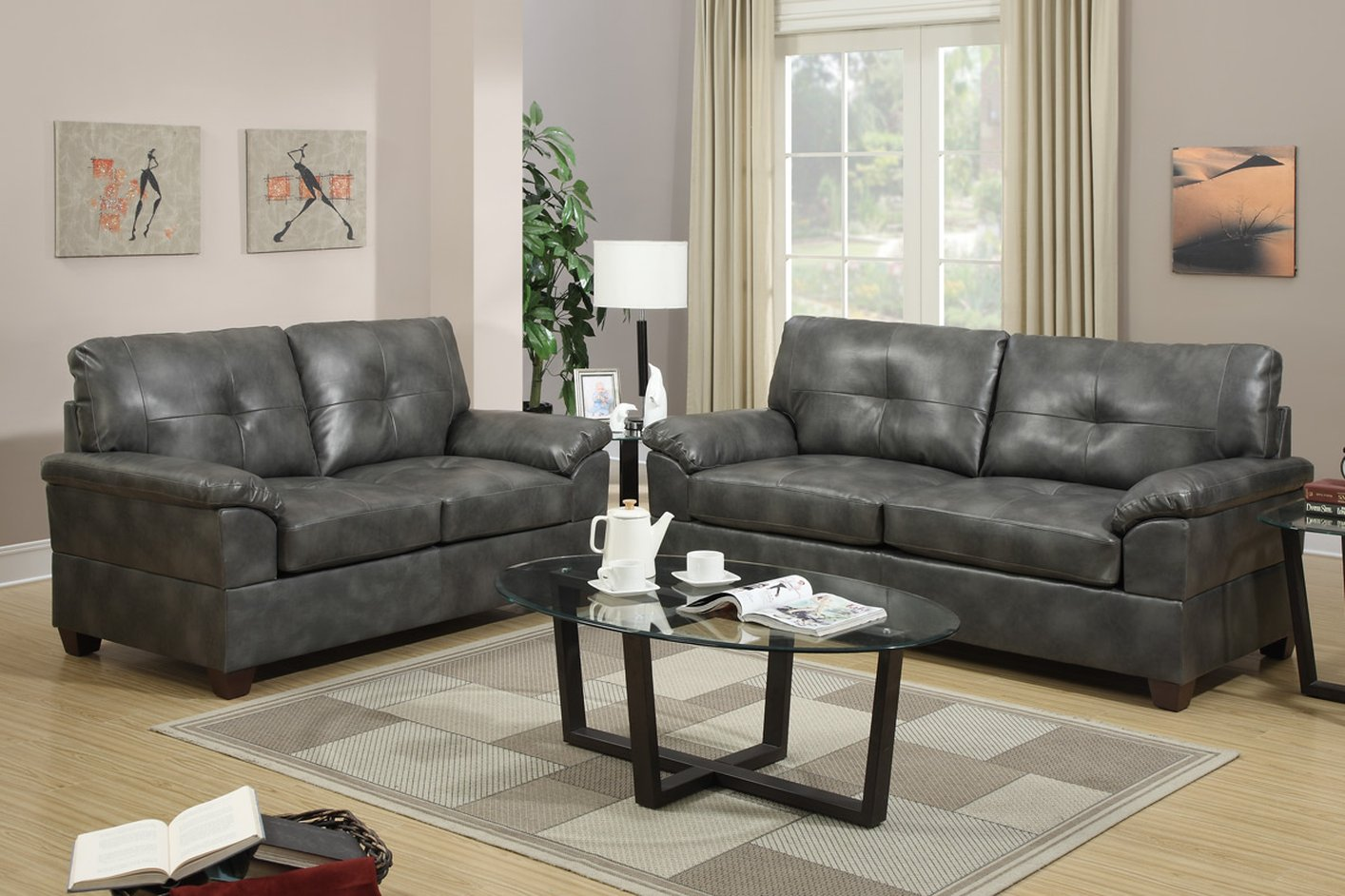 Poundex Elimination F7583 Grey Leather Sofa And Loveseat