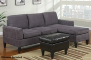 Piccio Grey Fabric Sectional Sofa and Ottoman