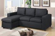 Empire Black Fabric Sectional Sofa