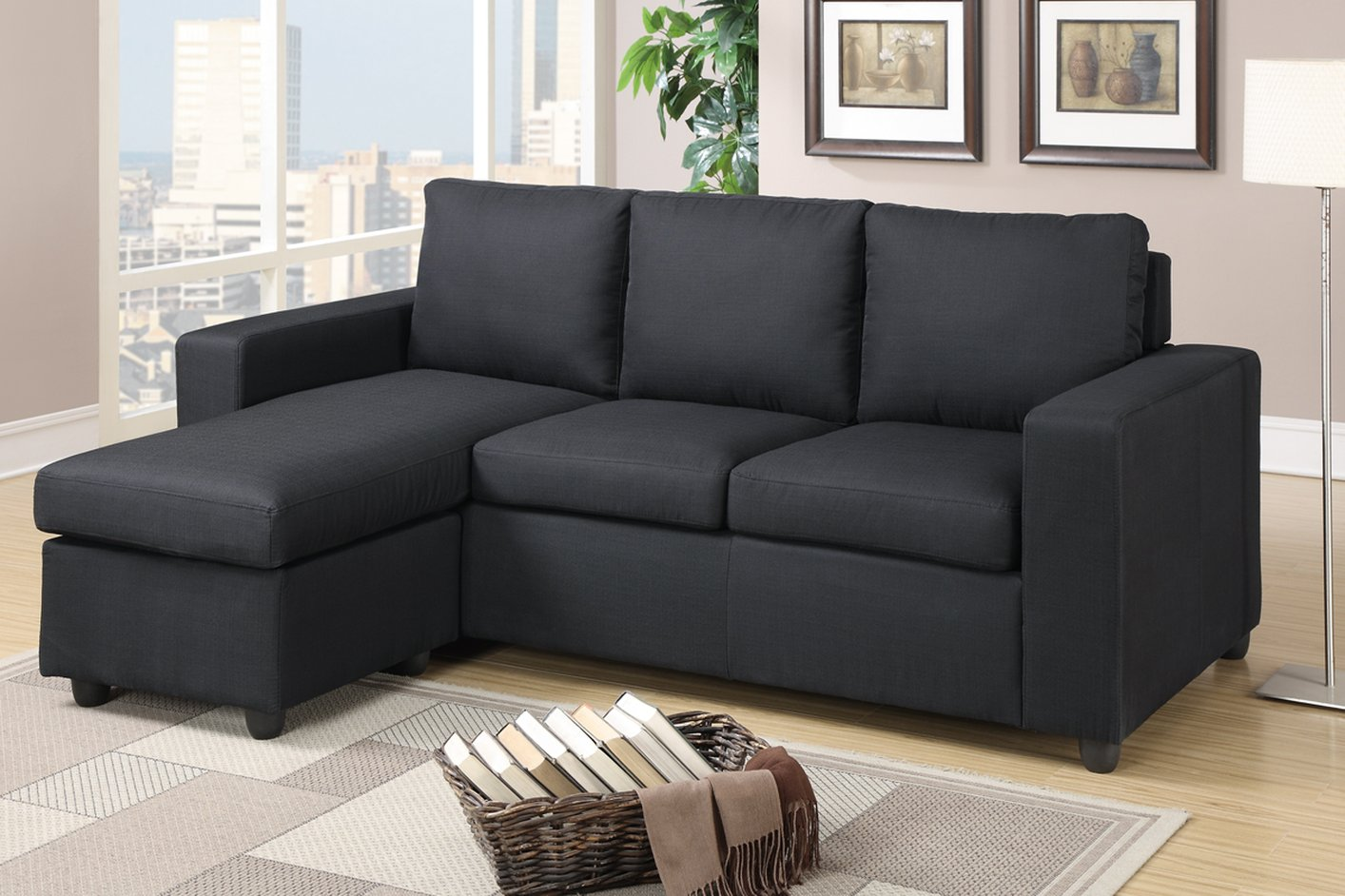 Poundex Akeneo F7490 Black Fabric Sectional Sofa Steal A