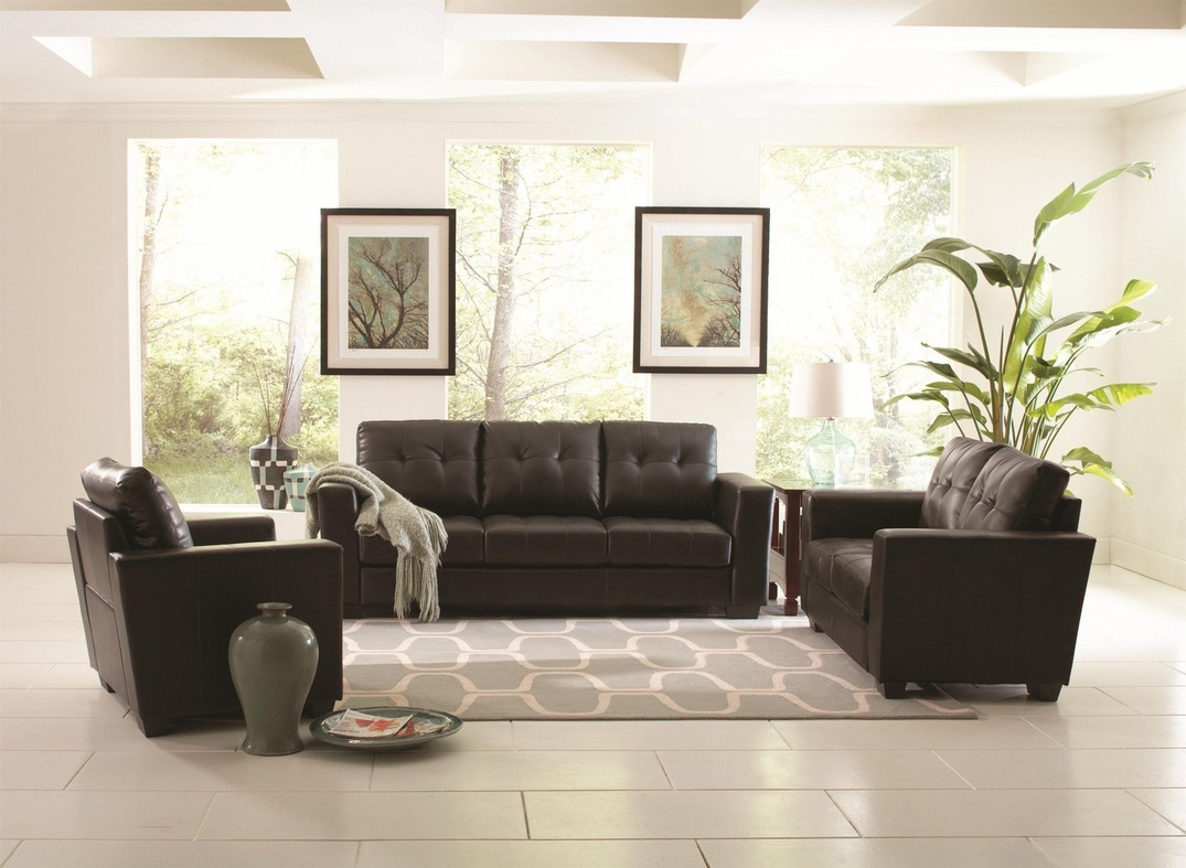 Of Living Rooms With Black Leather Furniture Coaster Enright 503701 Black Leather Sofa Steal A Sofa Furniture
