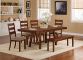Ethan Rustic Oak Wood Dining Table Set