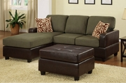 Ellie Green Fabric Sectional Sofa and Ottoman