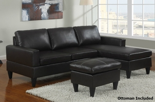Piccio Brown Leather Sectional Sofa and Ottoman