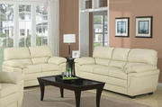 Fenmore Smooth Cream Sofa and Loveseat Set