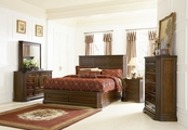 Foxhill Deep Brown Wood Queen Bed Set