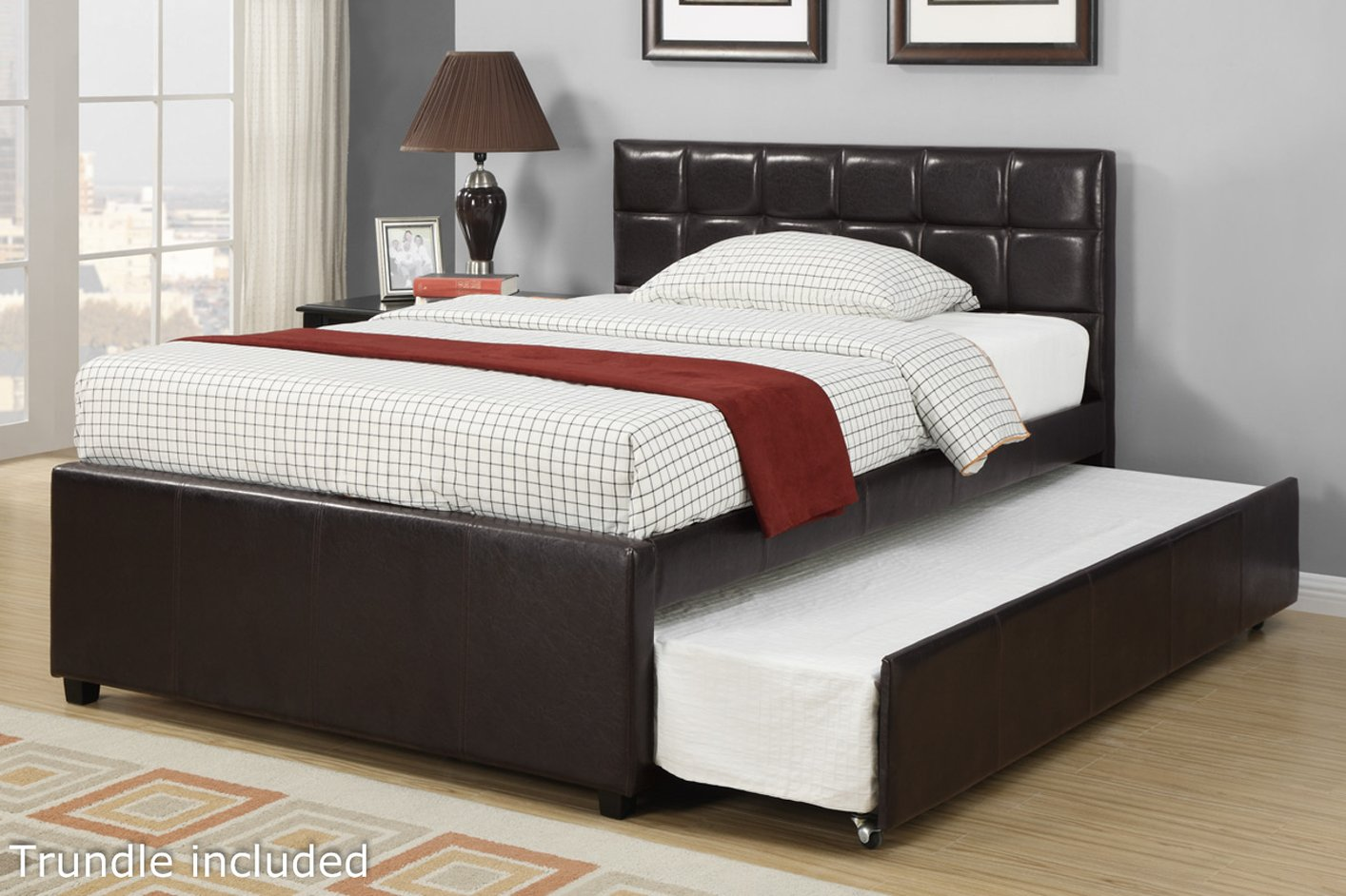 Twin Leather Trundle Bed