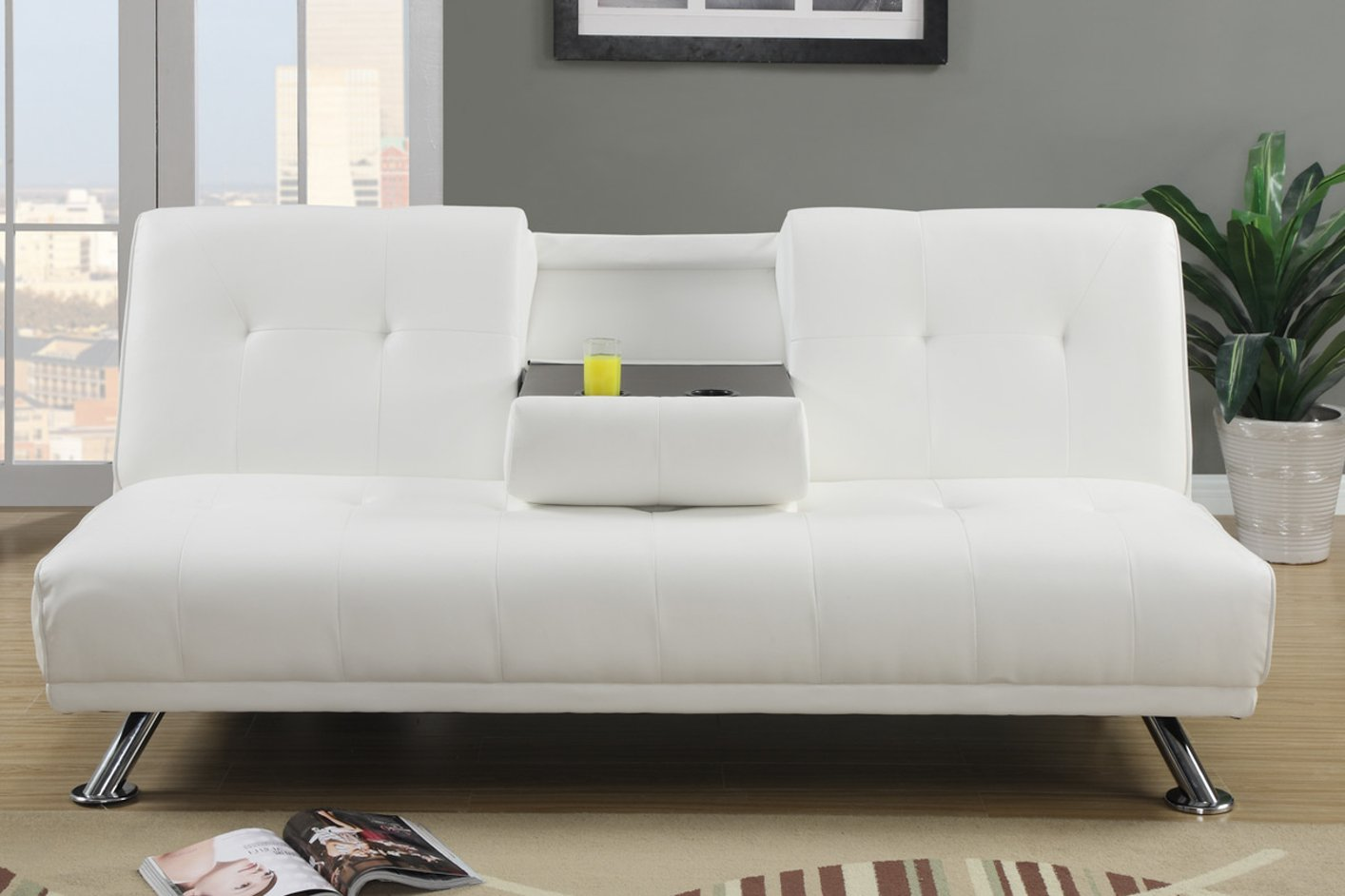 White Leather Twin Size Sofa Bed