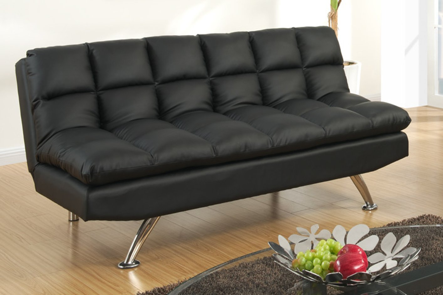 Poundex F7013 Black Twin Size Leather Sofa Bed StealASofa – Twin Sofa Sleeper
