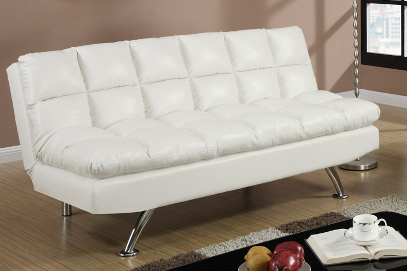 Poundex F7015 White Twin Size Leather Sofa Bed Steal A Sofa