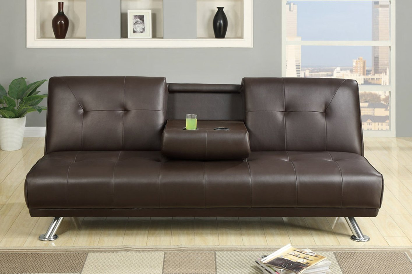 Poundex F7220 Brown Twin Size Leather Sofa Bed Steal A