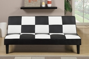 Black Leather Twin Size Sofa Bed