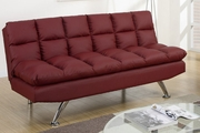 Red Leather Twin Size Sofa Bed
