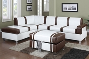 Gabriel Cream And Brown Bonded Leather Sectional Sofa With Ottoman