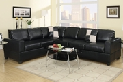 Gael Black Faux Leather Sectional Sofa