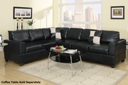 Playa Black Leather Sectional Sofa