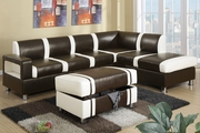 Galen Gray And Cream Bonded Leather Sectional Sofa With Ottoman